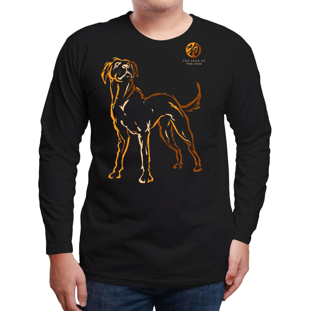 Year of the DOG, Long Sleeve Black T-Shirt, Born: 1934, 46, 58, 70, 82, 94,  06, 2018