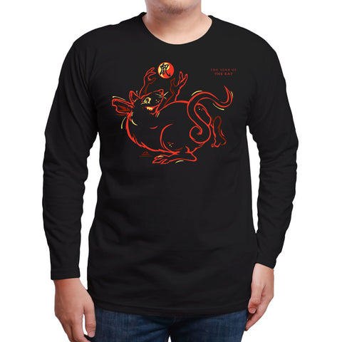2020 Year of the RAT, Neon Long Sleeve Black T-Shirt, Born: 1936, 48, 60, 72, 84, 96, 08, 2020 FREE GREETING CARD W/ORDER
