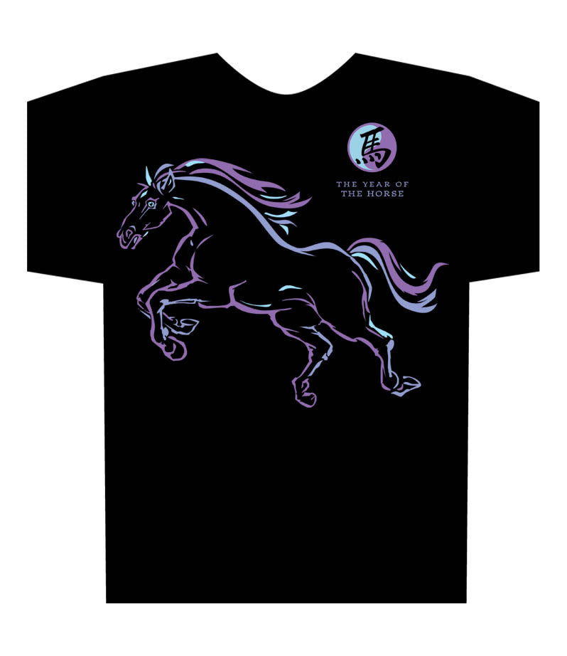Year of the Horse black t-shirt Birth Years: 1930, 1942, 1954, 1966, 1978, 1990, 2002, 2014