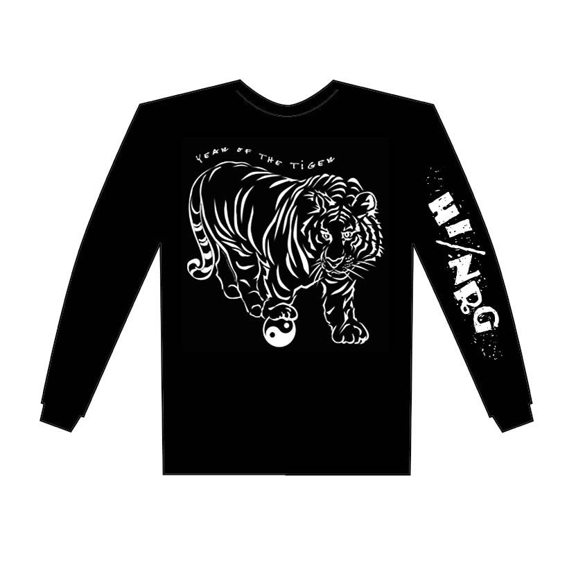 Year of the Tiger Black Long Sleeve Shirt Hi-NRG Design Birth Years: 1938, 50, 62, 74, 86, 98, 2010 X-Large