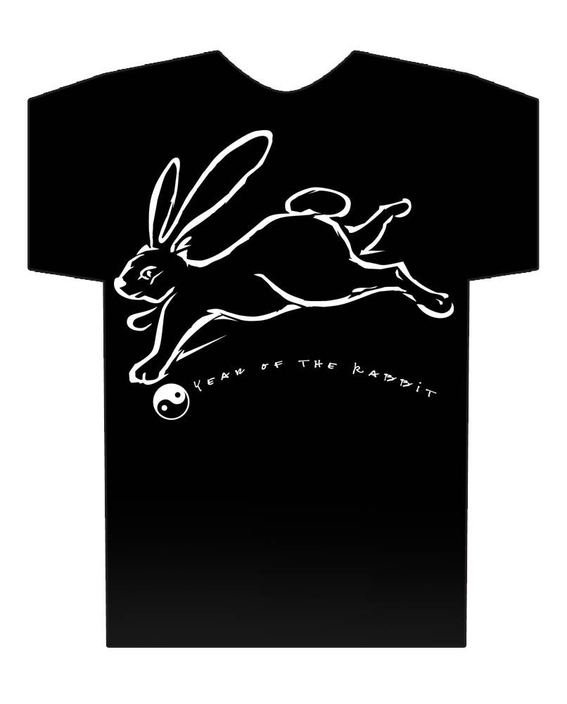 Year of the Rabbit black Hi-NRG Design t-shirt Birth Years: 1939, 51, 63, 75, 87, 99, 2011