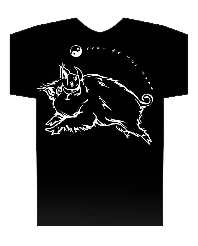 Year of the Boar black t-shirt Birth Years 1935, 47, 59, 71, 83, 95, 2007, 2019