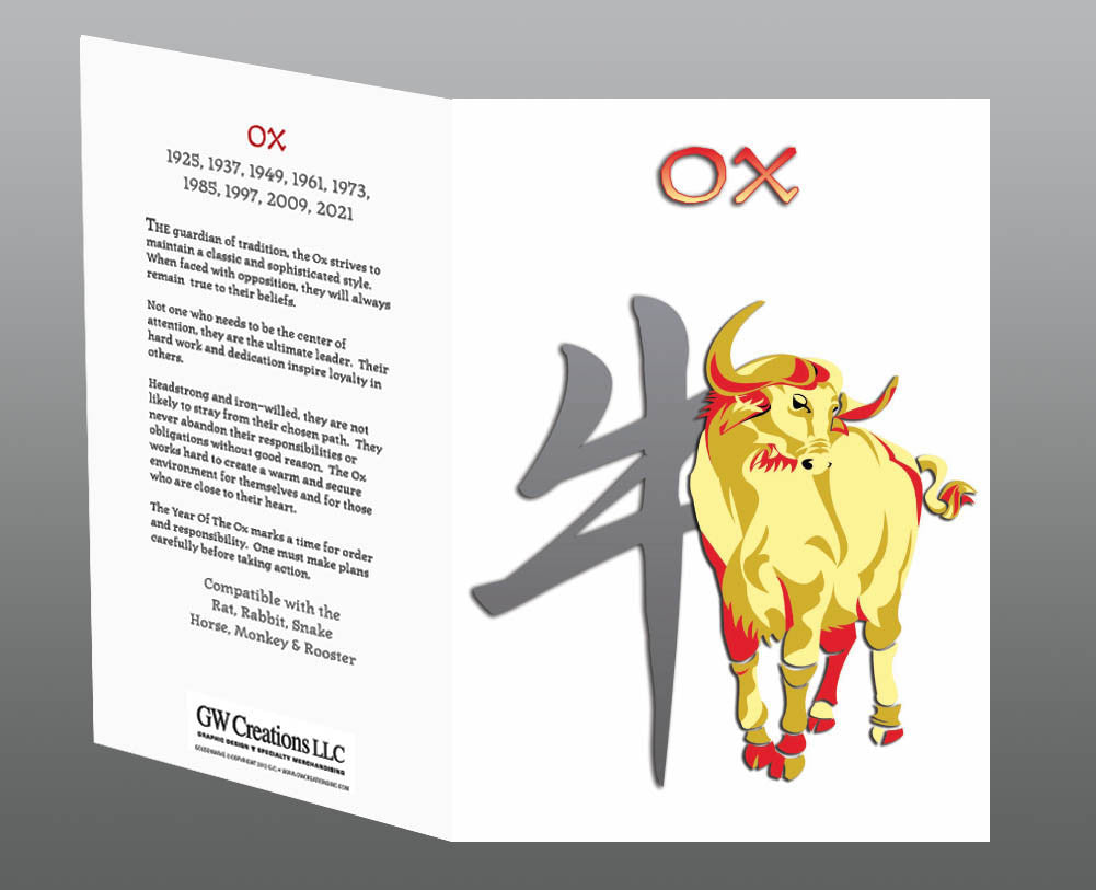Year of the Ox Greeting Cards (2pk or 12pk) Birth Years: 1925, 37, 49, 61, 73, 85, 97, 2009