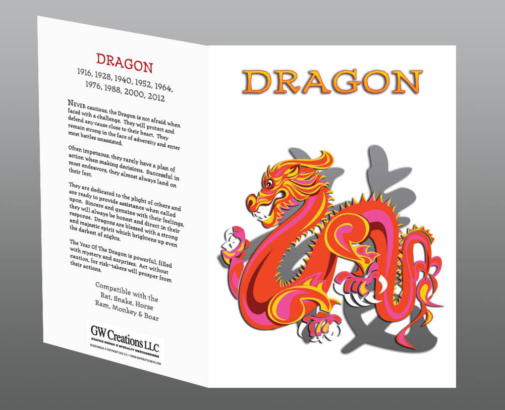 Year of the Dragon Greeting Cards (2pk, 12pk) Birth Years: 1928, 40, 52, 64, 76, 88, 2000, 2012