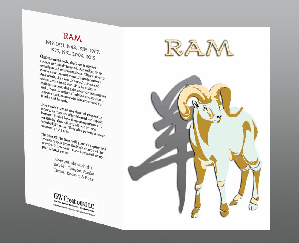 Year of the Ram Greeting Cards (2pk or 12pk) Birth Years: 1931, 43, 55, 67, 79, 91, 03, 2015
