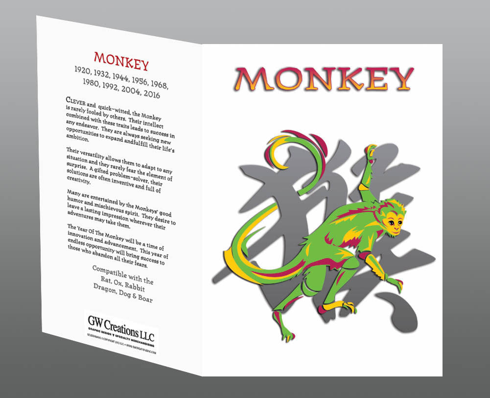 Year of the Monkey Greeting Cards (2pk or 12pk) Birth Years: 1932, 44, 56, 68, 80, 92, 04, 2016