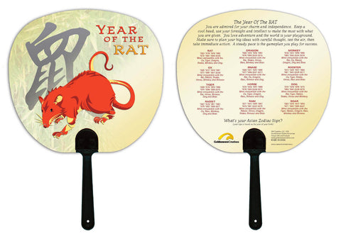 Chinese New Year of the Rat, Hand Fan Birth Years: 1936, 48, 60, 72, 84, 96, 08, 2020