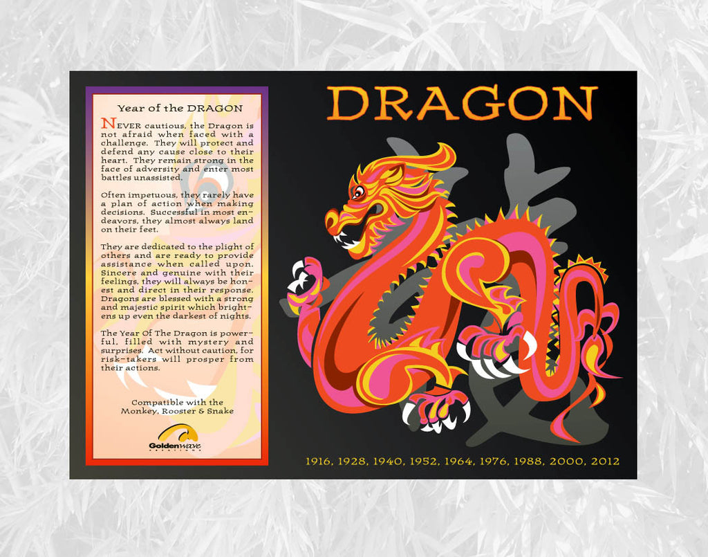 Year of the Dragon Individual Poster Birth Years: 1928, 40, 52, 64, 76, 88, 00, 2012