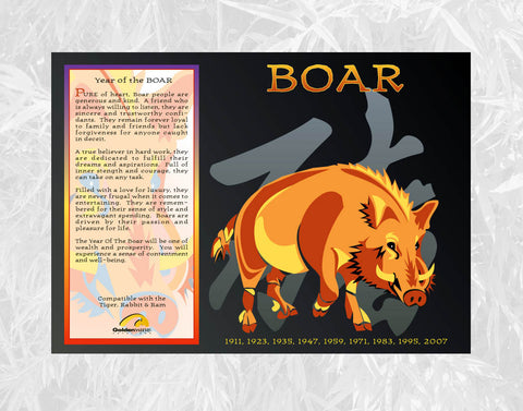 Year of the Boar Individual Poster Birth Years 1935, 47, 59, 71, 83, 95, 07, 2019