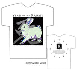 Year of the Rabbit white t-shirt Classic Birth Years: 1939, 51, 63, 75, 87, 99, 2011