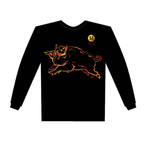 Chinese New Year, Year of the BOAR (Pig), Long Sleeve Black T-Shirt, Born: 1935, 47, 59, 71, 83, 95, 07, 2019