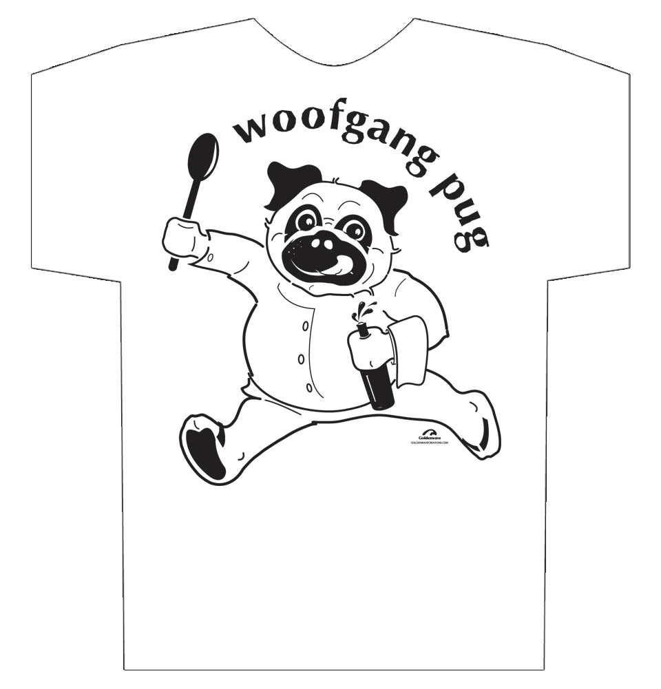 Pug Shirt, Woofgang Pug, Funny Pug T-shirt White 100% pre-shrunk cotton.