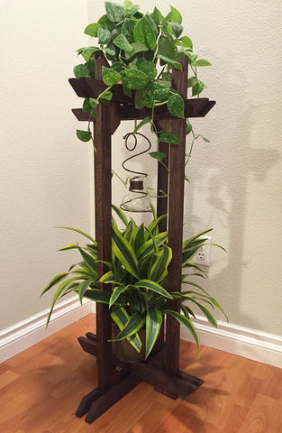 "Plant Stand, Tranquility Stand all-wood multi-use stand 10"" circular platforms for Plants, Terrariums and Aquarium Bowls"