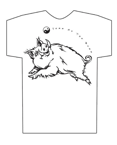 Chinese Year of the Boar, Hi-NRG White T-Shirt Birth Years 1935, 47, 59, 71, 83, 95, 07, 2019