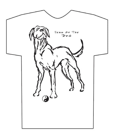 Chinese Year of the DOG, Hi-NRG White T-Shirt, Born: 1934, 46, 58, 70, 82, 94, 06, 2018