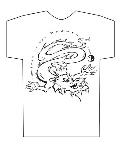Chinese Year of the Dragon HiNRG White T-shirt Birth Years: 1940, 52, 64, 76, 88, 20, 2012