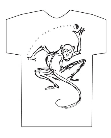 Chinese Year of the Monkey, Hi-NRG White T-shirt Birth Years: 1944, 56, 68, 80, 92, 04, 2016