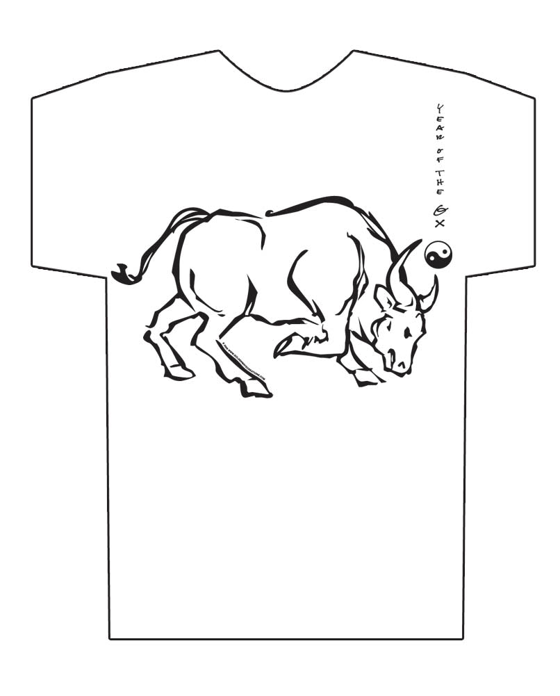 Chinese Year of the Ox Hi-NRG White t-shirt Birth Years: 1925, 1937, 1949, 1961, 1973, 1985, 1997, 2009