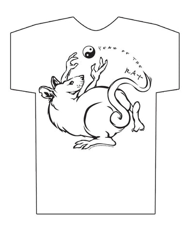Chinese Year of the Rat Hi-NRG White T-shirt Birth Years: 1936, 48, 60, 72, 84, 96, 08, 2020