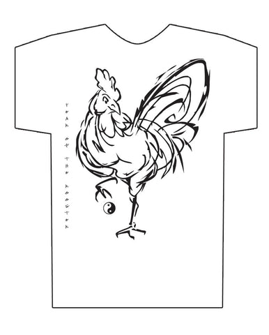 Chinese Year of the Rooster, Hi-NRG White t-shirt Birth Years 1933, 45, 57, 69, 81, 93, 05, 2017