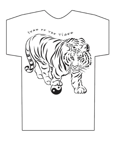 Chinese Year of the Tiger Hi-NRG White t-shirt Birth Years: 1938, 50, 62, 74, 86, 98, 2010