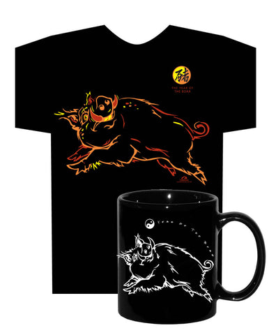 Chinese New Year, Year of the BOAR (Pig), Black 2 PC. COMBO T-SHIRT & MUG