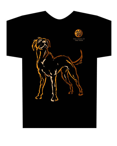 2018 Year of the Dog black t-shirt Birth Years: 1934, 46, 58, 70, 82, 94, 2006, 2018