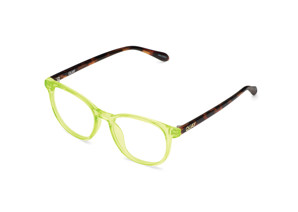 NEON YELLOW TORTOISE TEMPLE/CLEAR RX