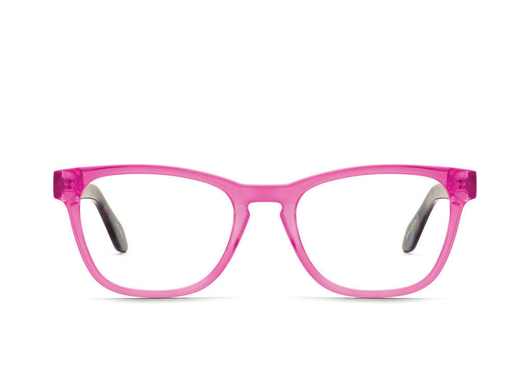 NEON PINK TORTOISE TEMPLE/CLEAR RX