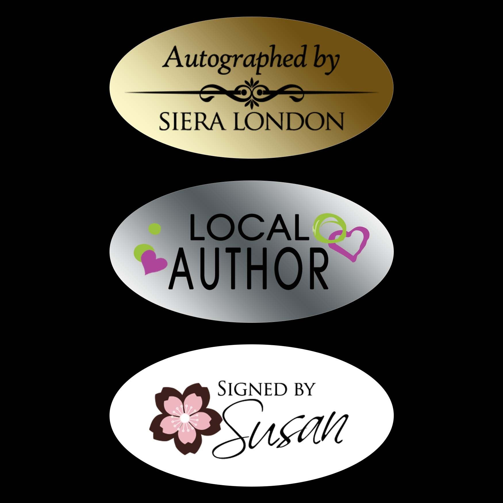 Home products autograph stickers 1 5 x 75 oval custom design