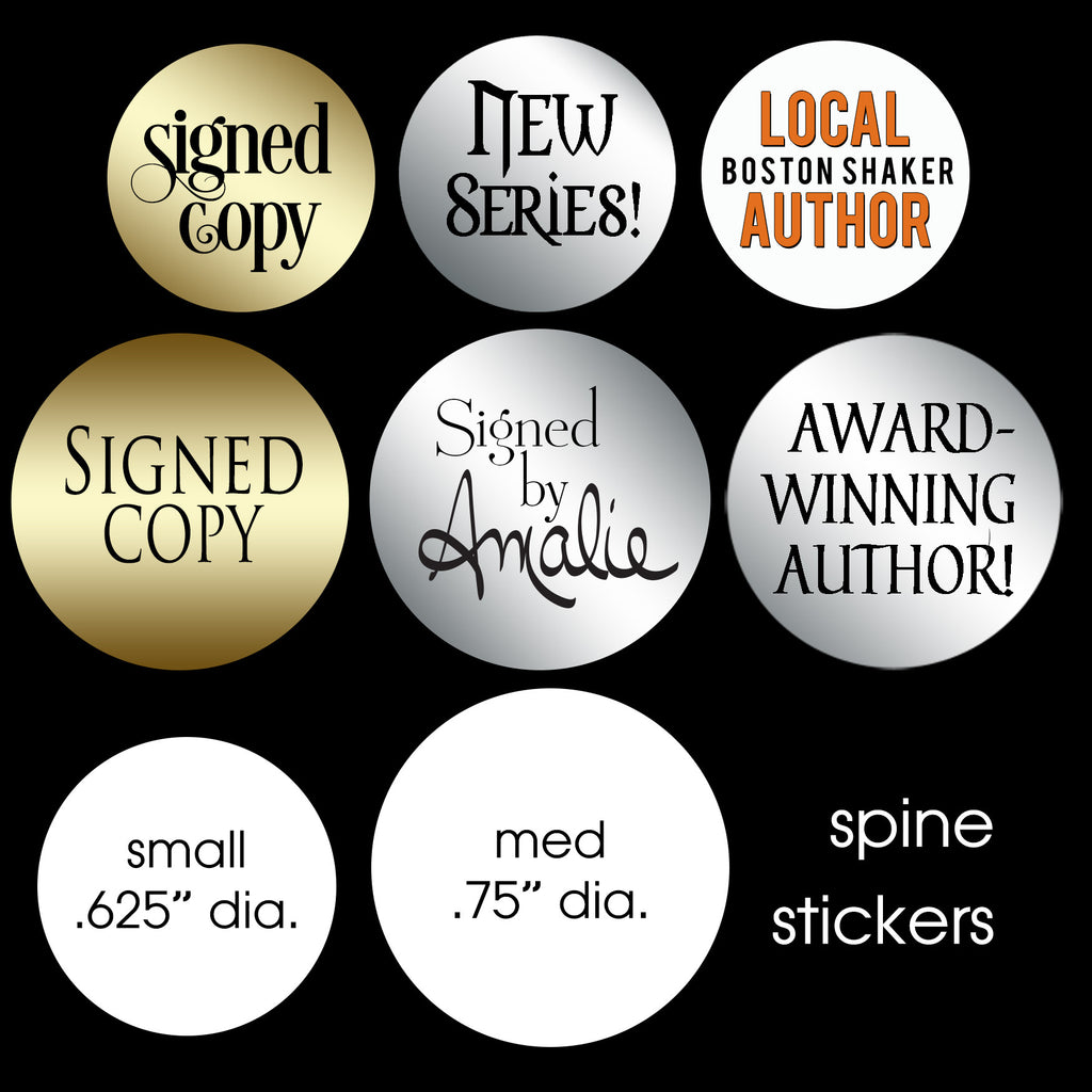Spine stickers, available in small or medium sizes