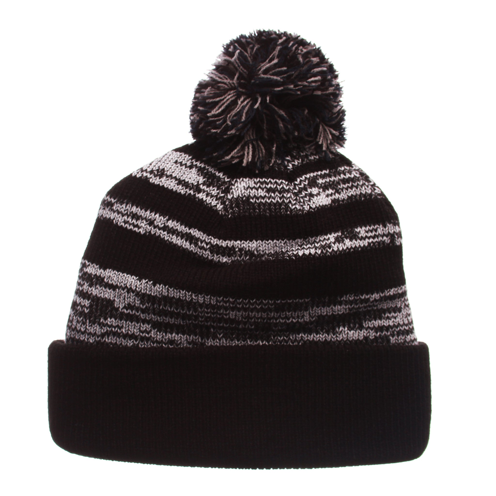Brigham Young University Black Baron Knit (Fold) (OVAL Y) Black/White/Gray Confederate Knit Adjustable hats by Zephyr