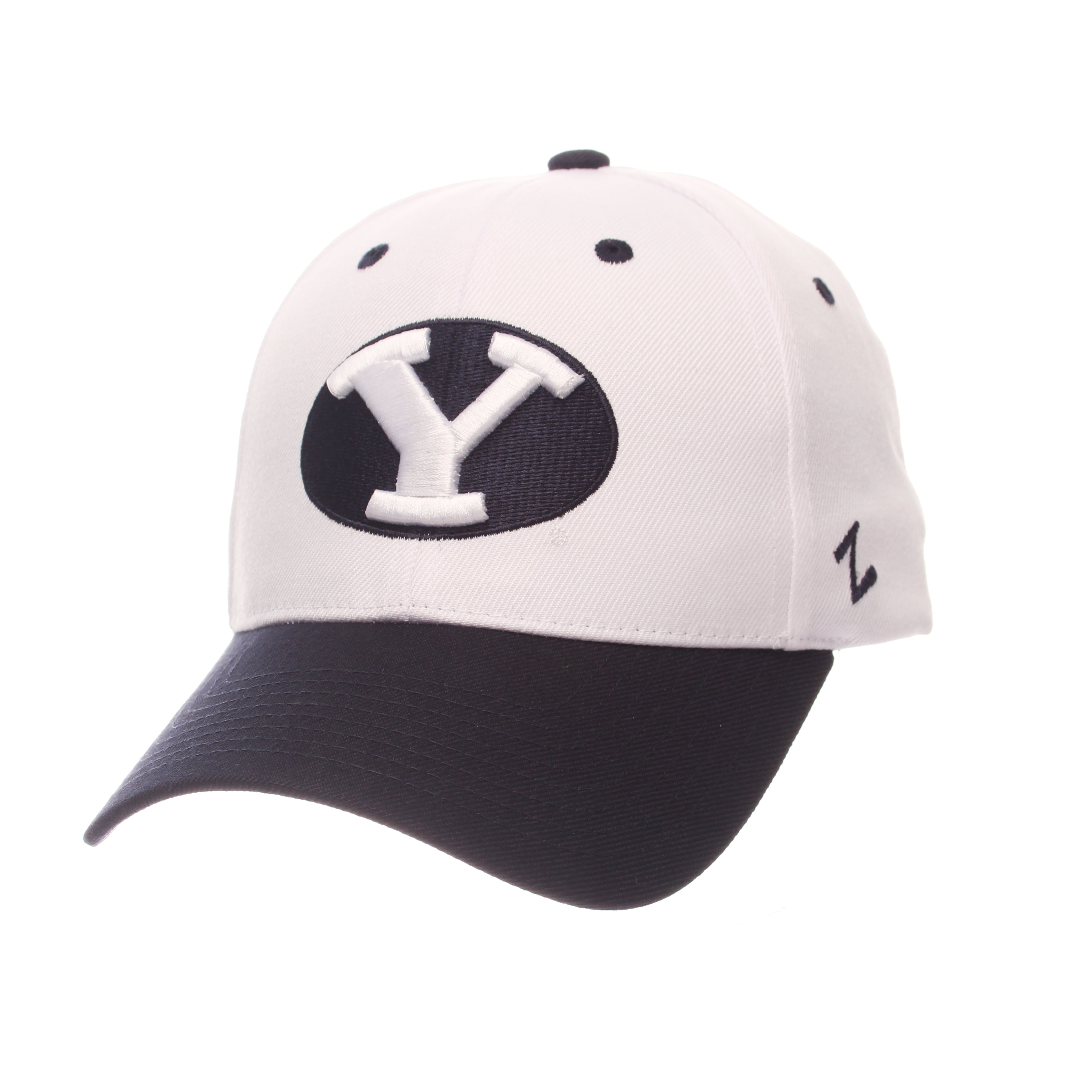 Brigham Young University Competitor Standard (Low) (Y OVAL) White Zwool Adjustable hats by Zephyr