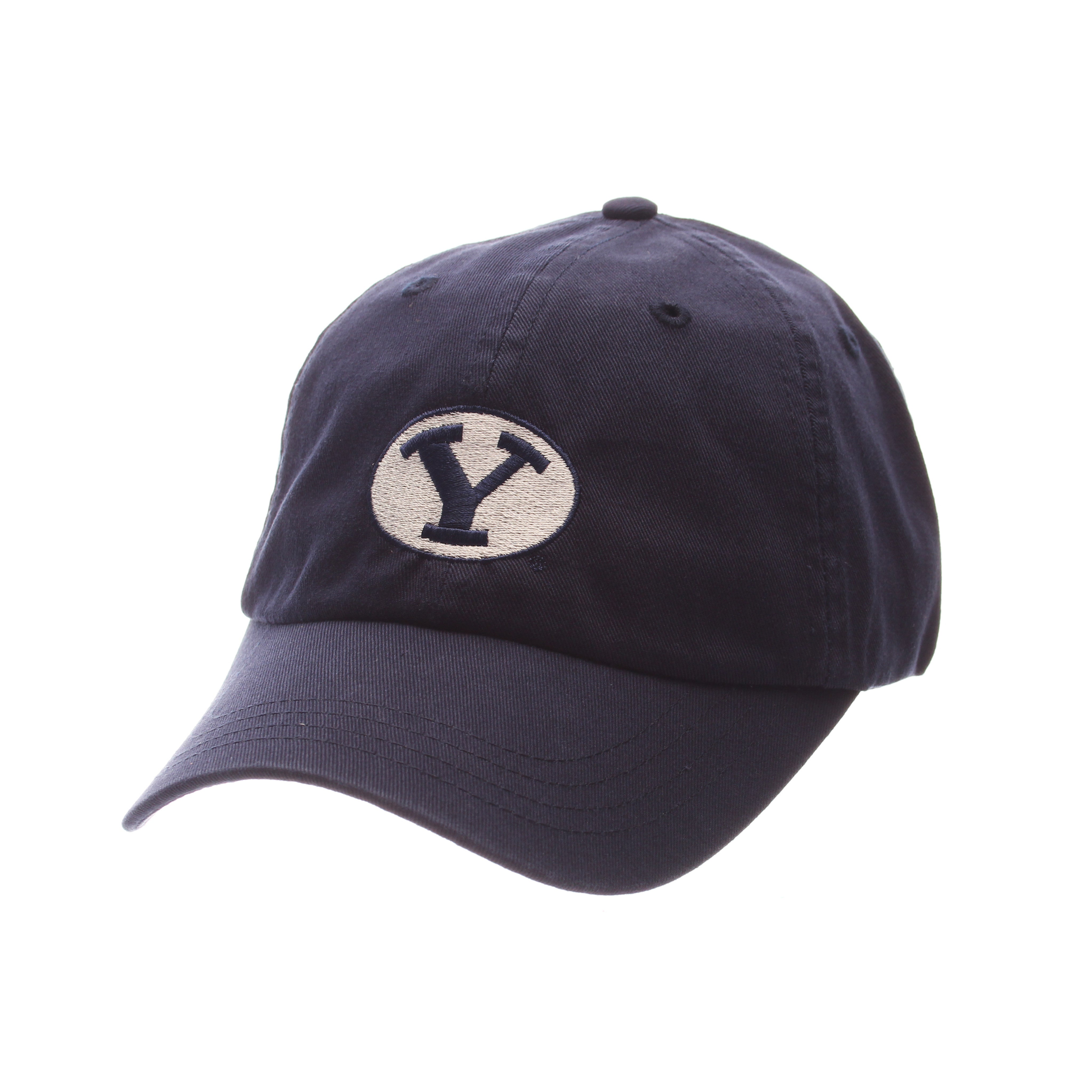 Brigham Young University Dad Hat NCAA Standard (Low) (Y OVAL) Navy Dark Washed Adjustable hats by Zephyr