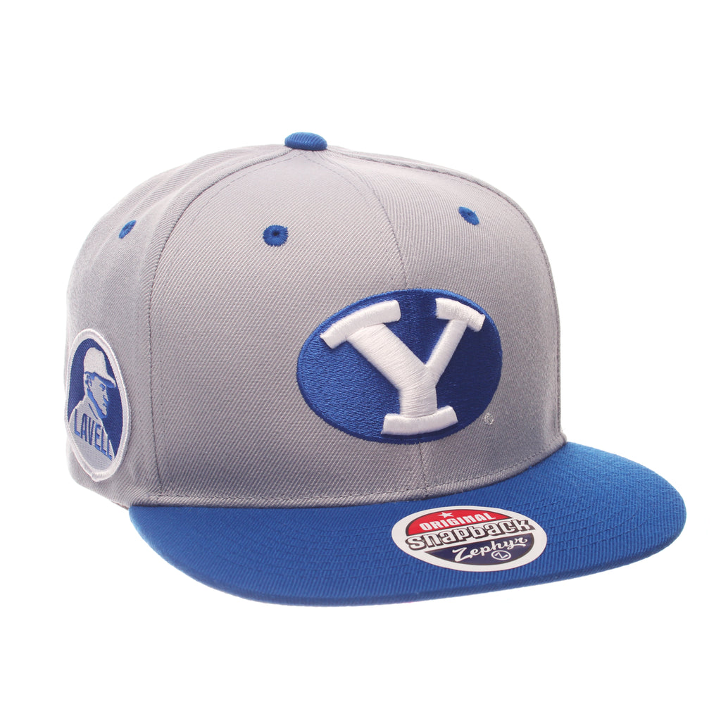 Brigham Young University Z11 32/5 (High) (Y OVAL) Gray Light Zwool Adjustable hats by Zephyr
