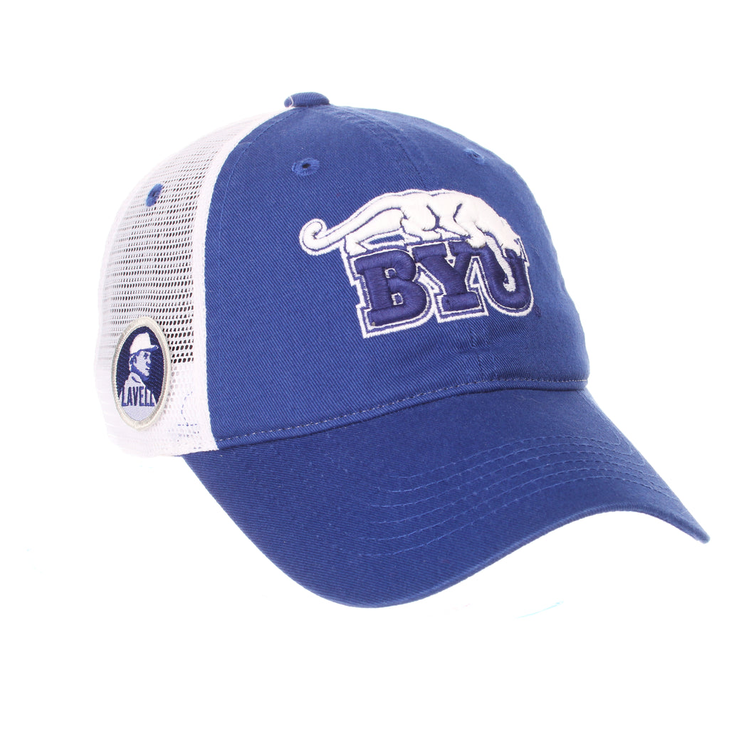 Brigham Young University University Standard (Low) (COUGAR W/BYU) Royal Washed Adjustable hats by Zephyr