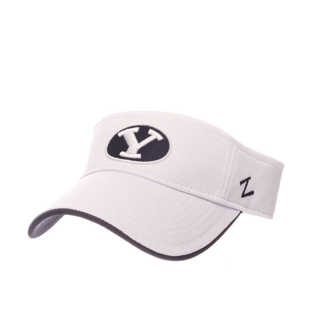 Brigham Young University Volley Visor (Y OVAL) White Vapor Tech Adjustable hats by Zephyr