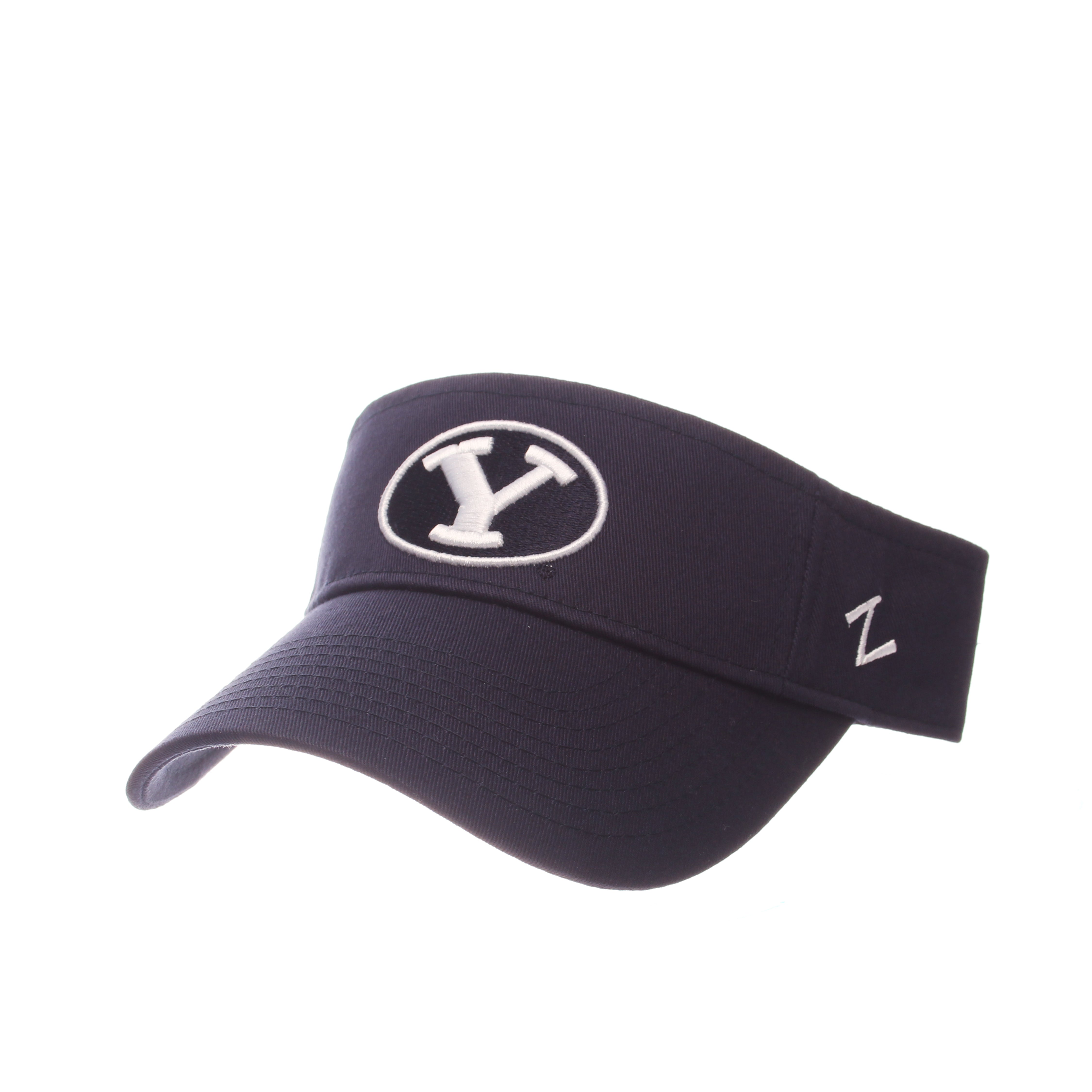 Brigham Young University Visor Visor (Y OVAL) Navy Dark 100% Cotton Twill Adjustable hats by Zephyr