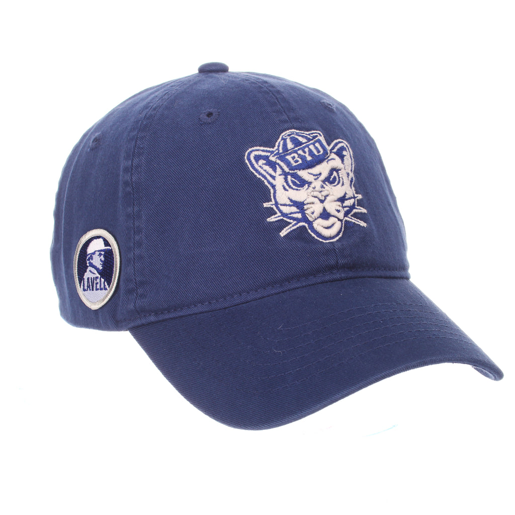 Brigham Young University Scholarship (COUGAR W/HAT) Royal Washed Adjustable hats by Zephyr