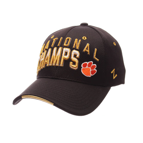 College Football Playoffs Program Custom Zfit (NATIONAL/CHAMPS PAW) Black Vapor Tech Stretch Fit hats by Zephyr
