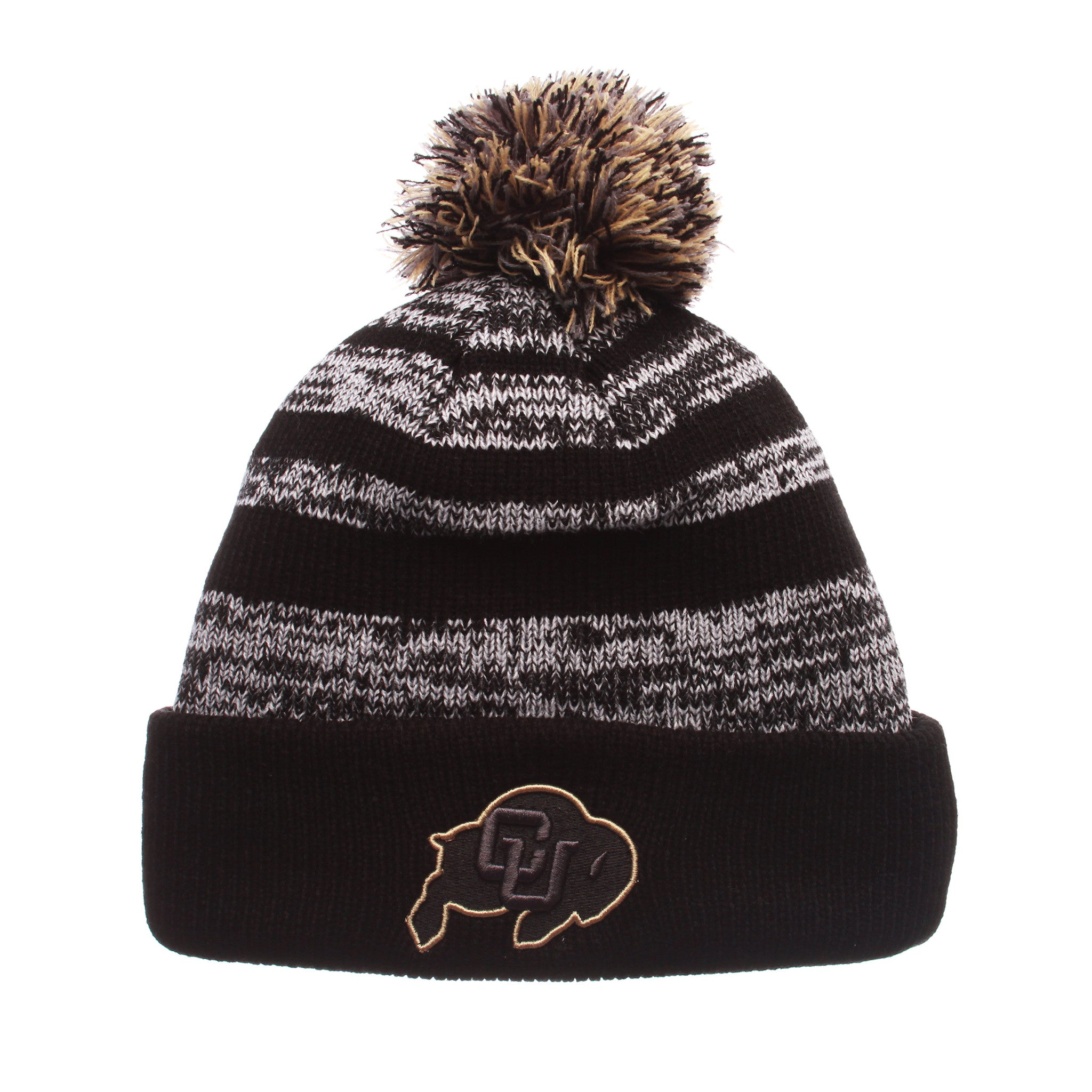 Colorado (Boulder) Black Baron Knit (Fold) (CU W/BUFFALO) Black/White/Gray Confederate Knit Adjustable hats by Zephyr