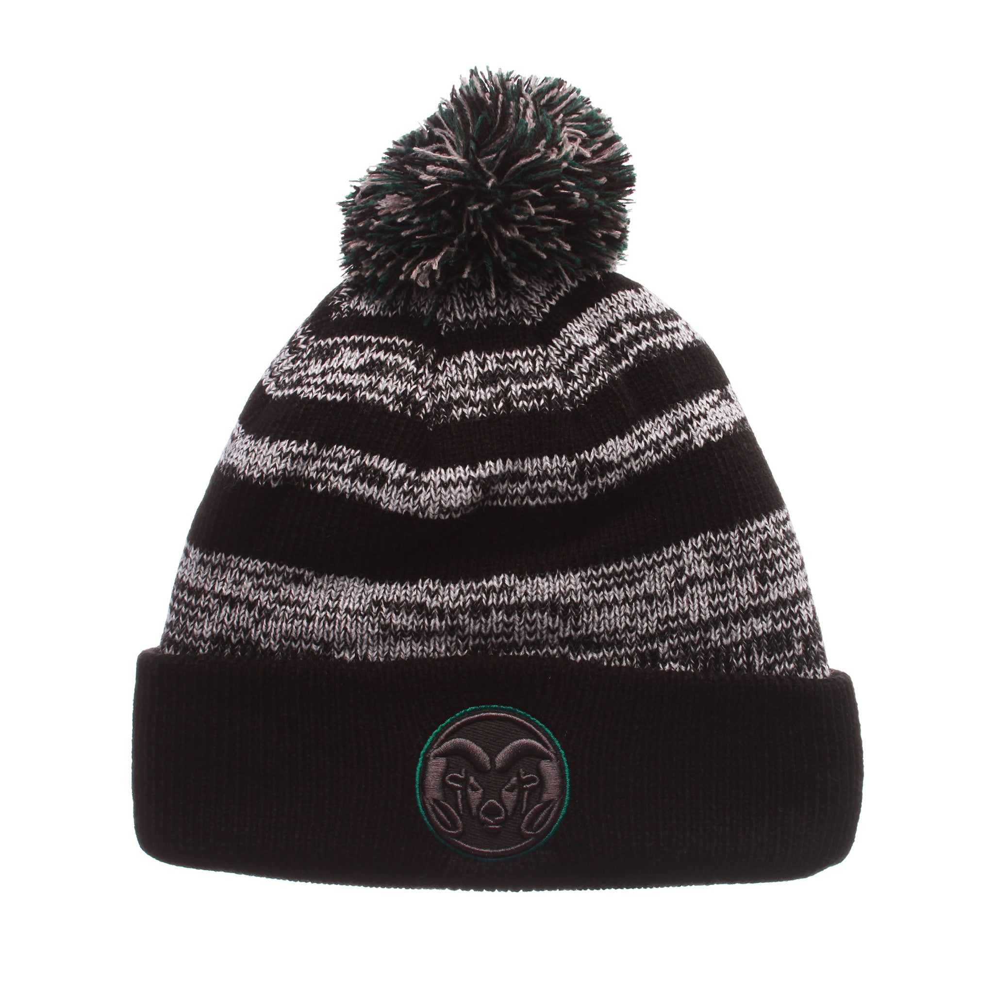 Colorado State University Black Baron Knit (Fold) (RAM CIRCLE LOGO) Black/White/Gray Confederate Knit Adjustable hats by Zephyr