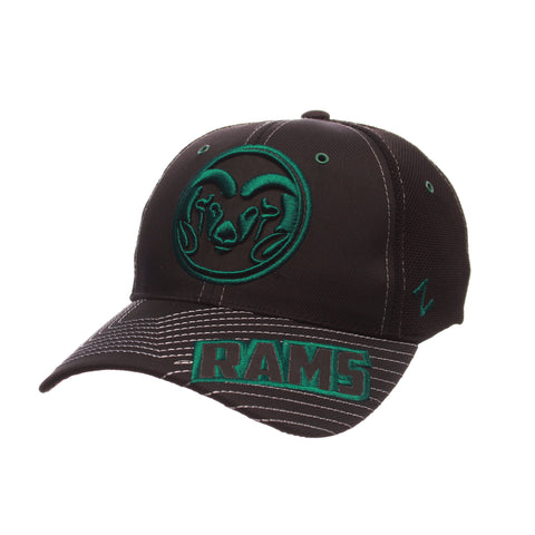 Colorado State University Black Friday Slant Standard (Low) (RAM CIRCLE LOGO) Varied Colors Varied Panels Stretch Fit hats by Zephyr