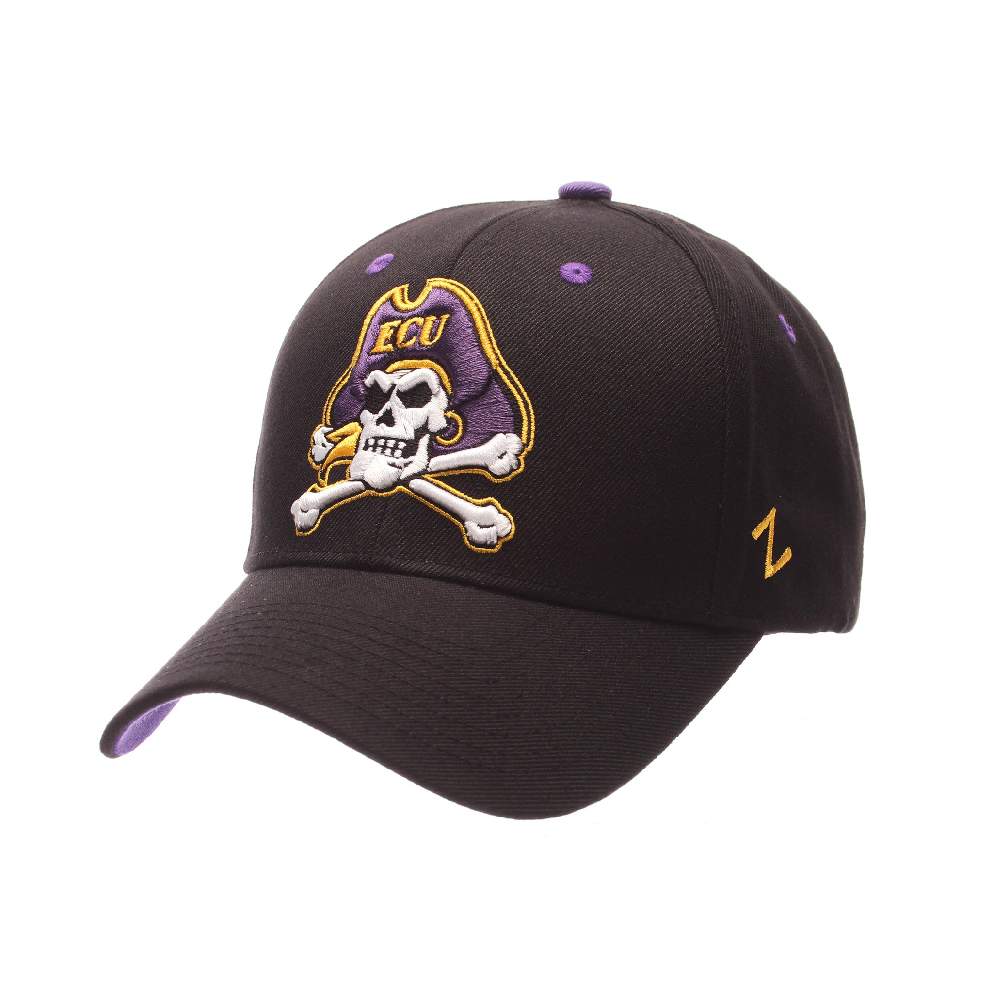East Carolina University Competitor Standard (Low) (JOLLY ROGER) Black Zwool Adjustable hats by Zephyr