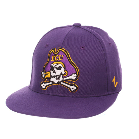 East Carolina University M15 Mid (Medium) (JOLLY ROGER) Purple Zwool Fitted hats by Zephyr