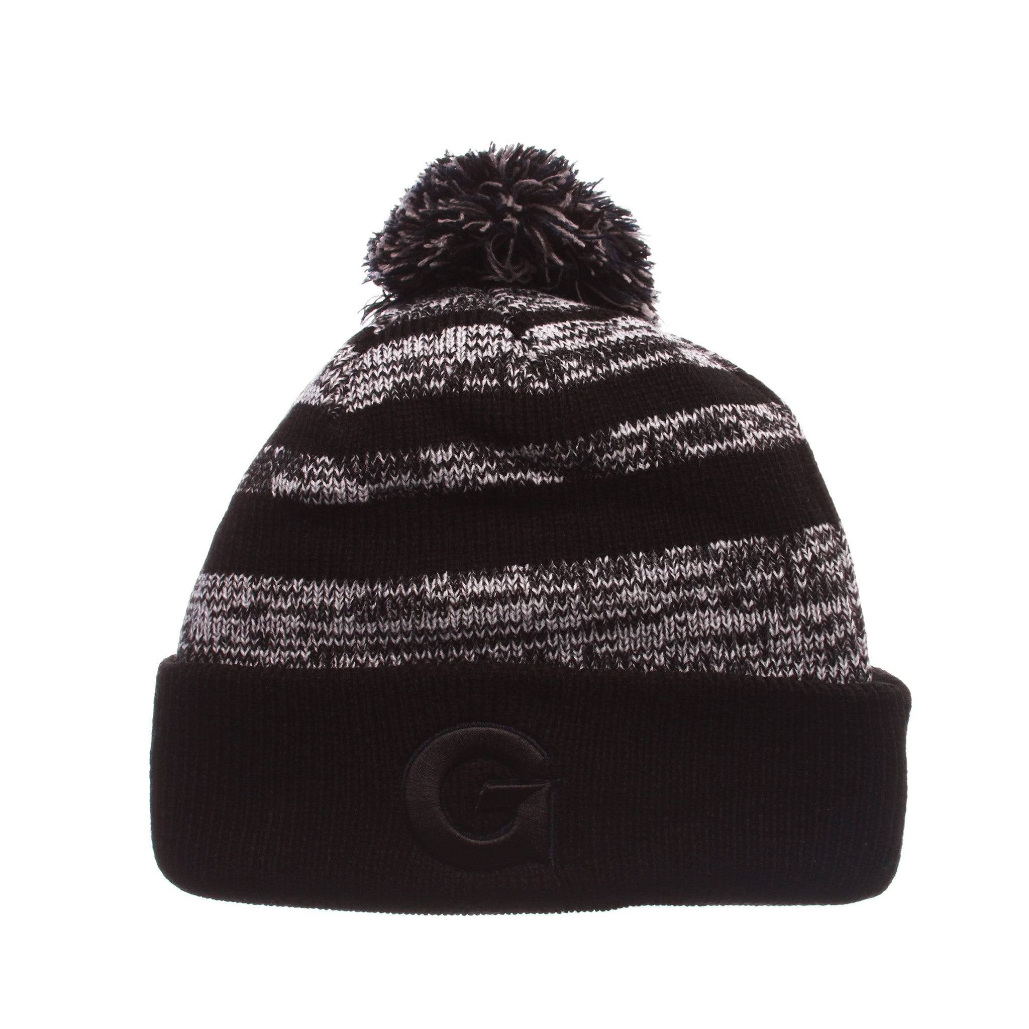 Georgetown University Black Baron Knit (Fold) (G) Black/White/Gray Confederate Knit Adjustable hats by Zephyr