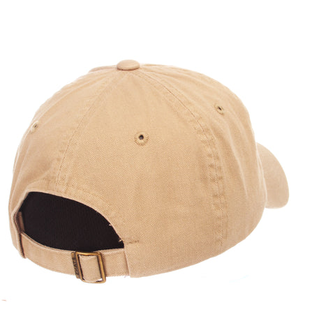 Dad Hat (GOLF FLAG) Khaki Washed Adjustable hats by Zephyr