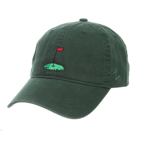 Dad Hat (GOLF FLAG) Forest Light Washed Adjustable hats by Zephyr