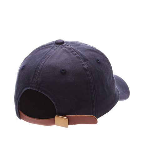 Dad Hat (HOT DOG) Navy Dark Washed Adjustable hats by Zephyr