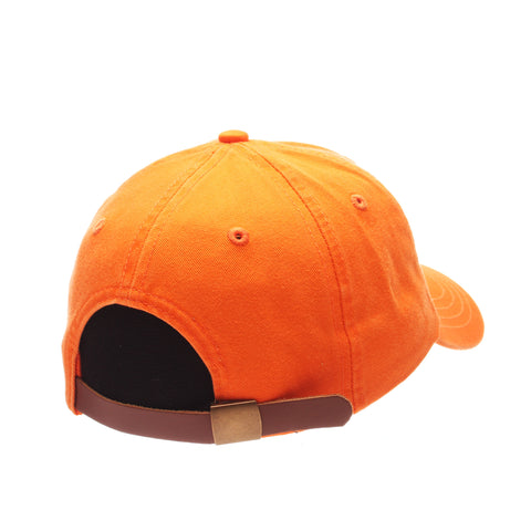 No Royalties Dad Hat (ICE CREAM CONE) Orange Light Washed Adjustable hats by Zephyr